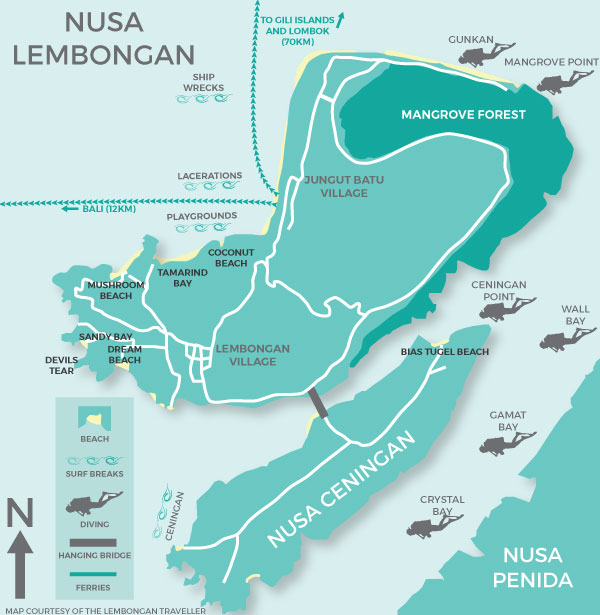 Nusa Lembongan Map MAP   The Lembongan Traveller