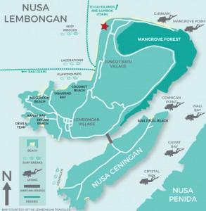 Map of Lembongan, luxury villas, private villas, bali villas, lembongan accommodation, bali resorts, lembongan resorts, hai tide, batu karang, resorts bali, transfers to lembongan, transfers from Bali